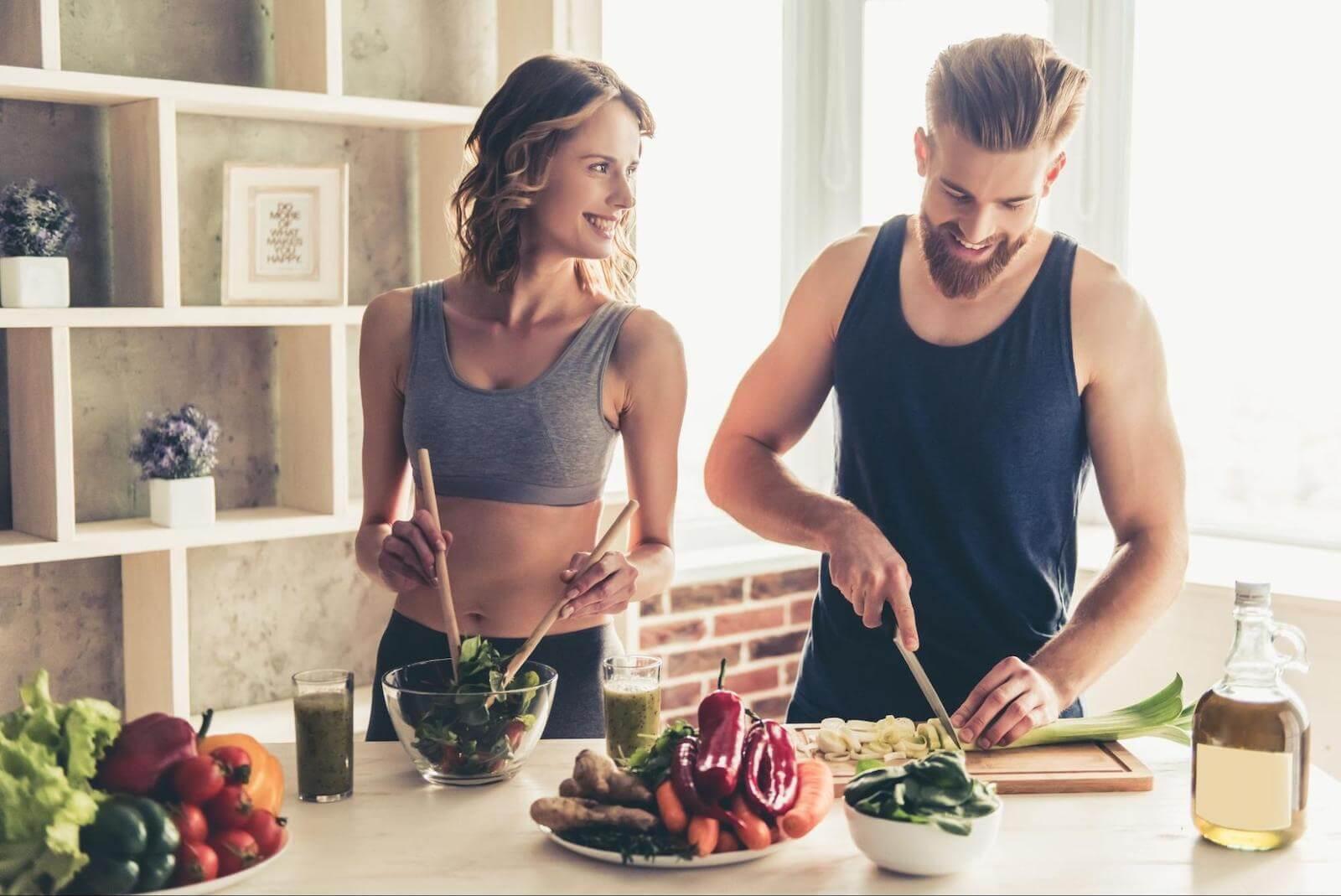 Circadian rhythm fasting: couple preparing food