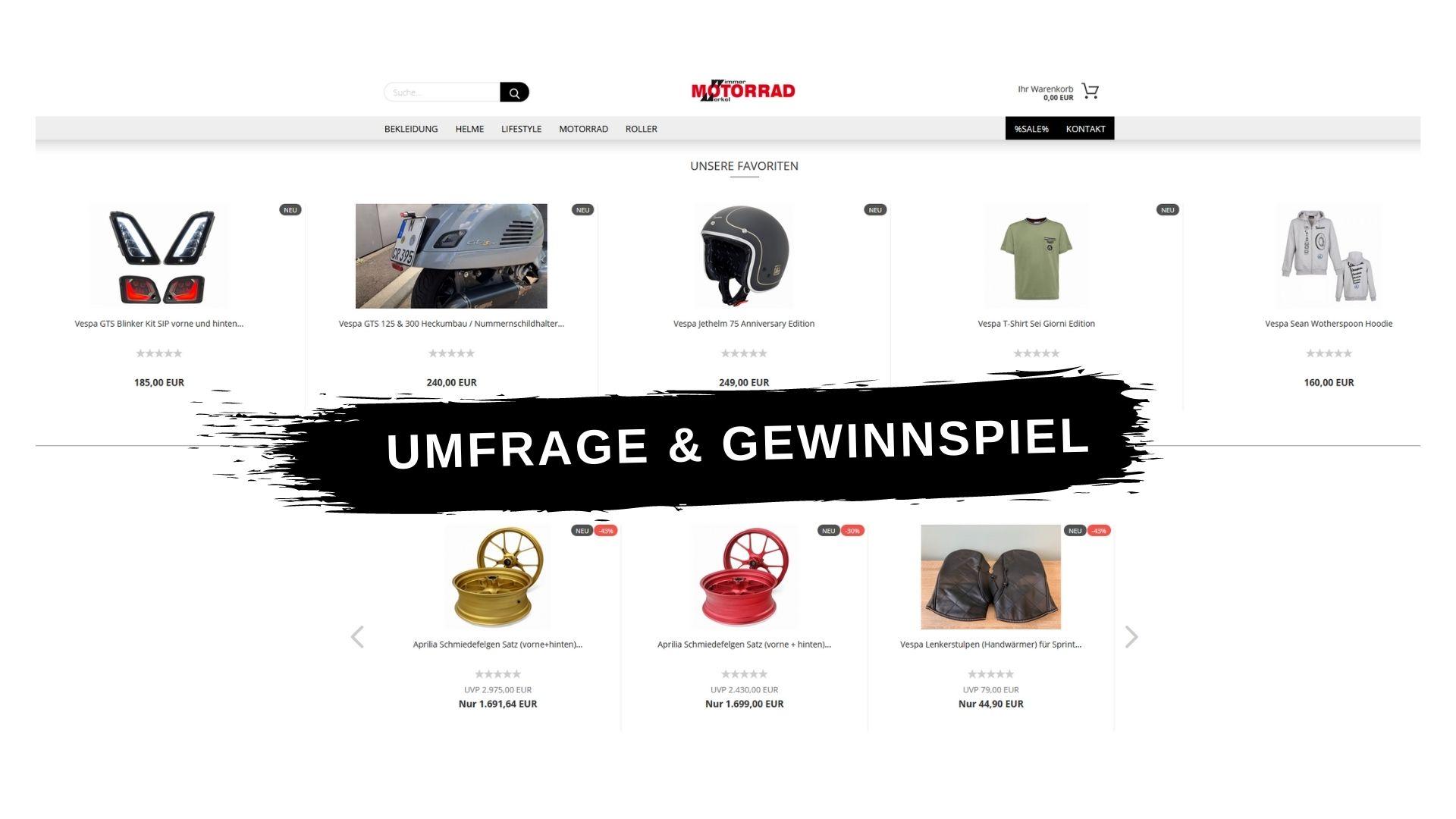 Gewinnspiel und Umfrage zum Online-Shop