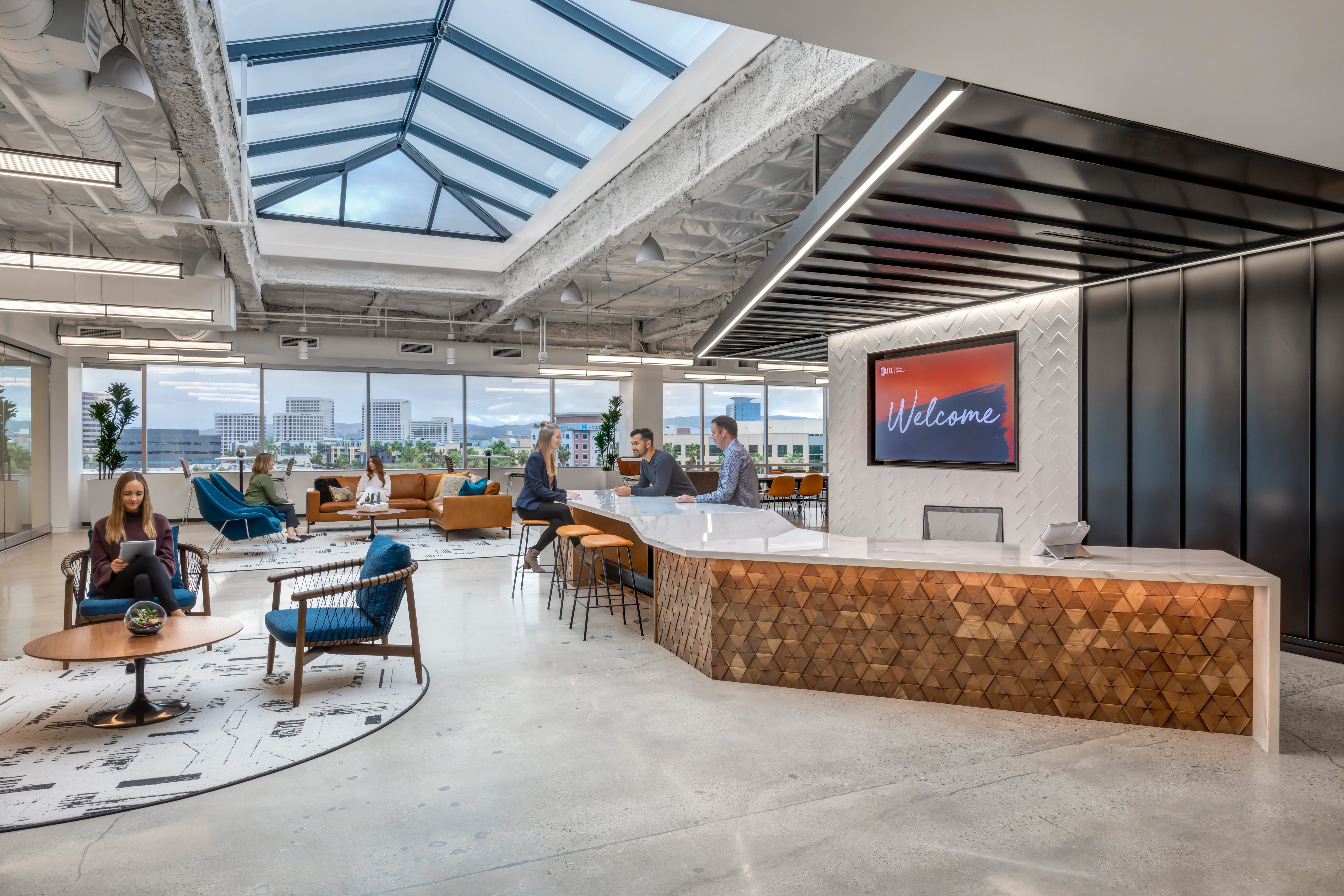JLL Intersect Irvine - Front desk and Lobby With Skylight