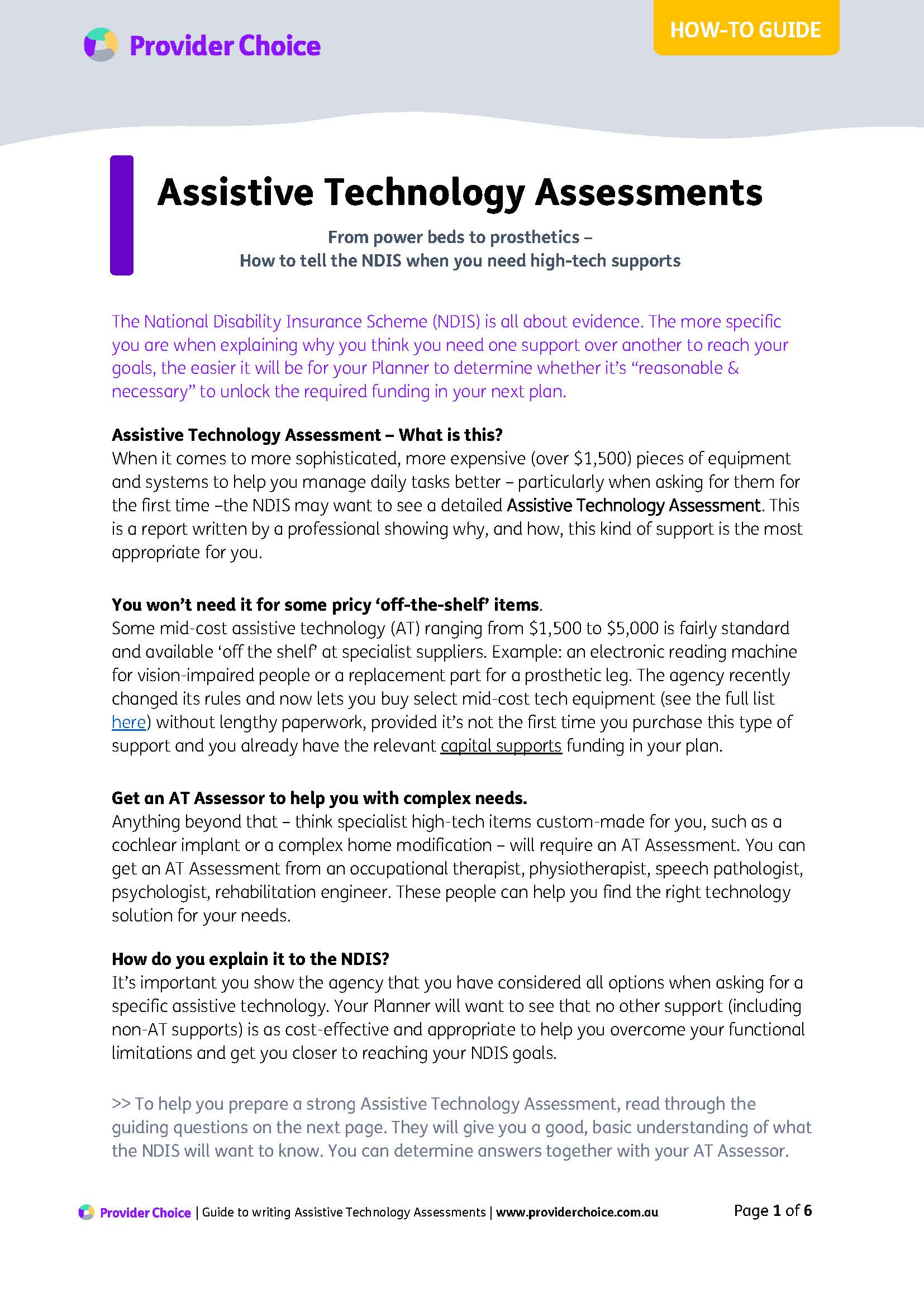 Factsheet: How to tell the NDIS you need funding for complex assistive technology