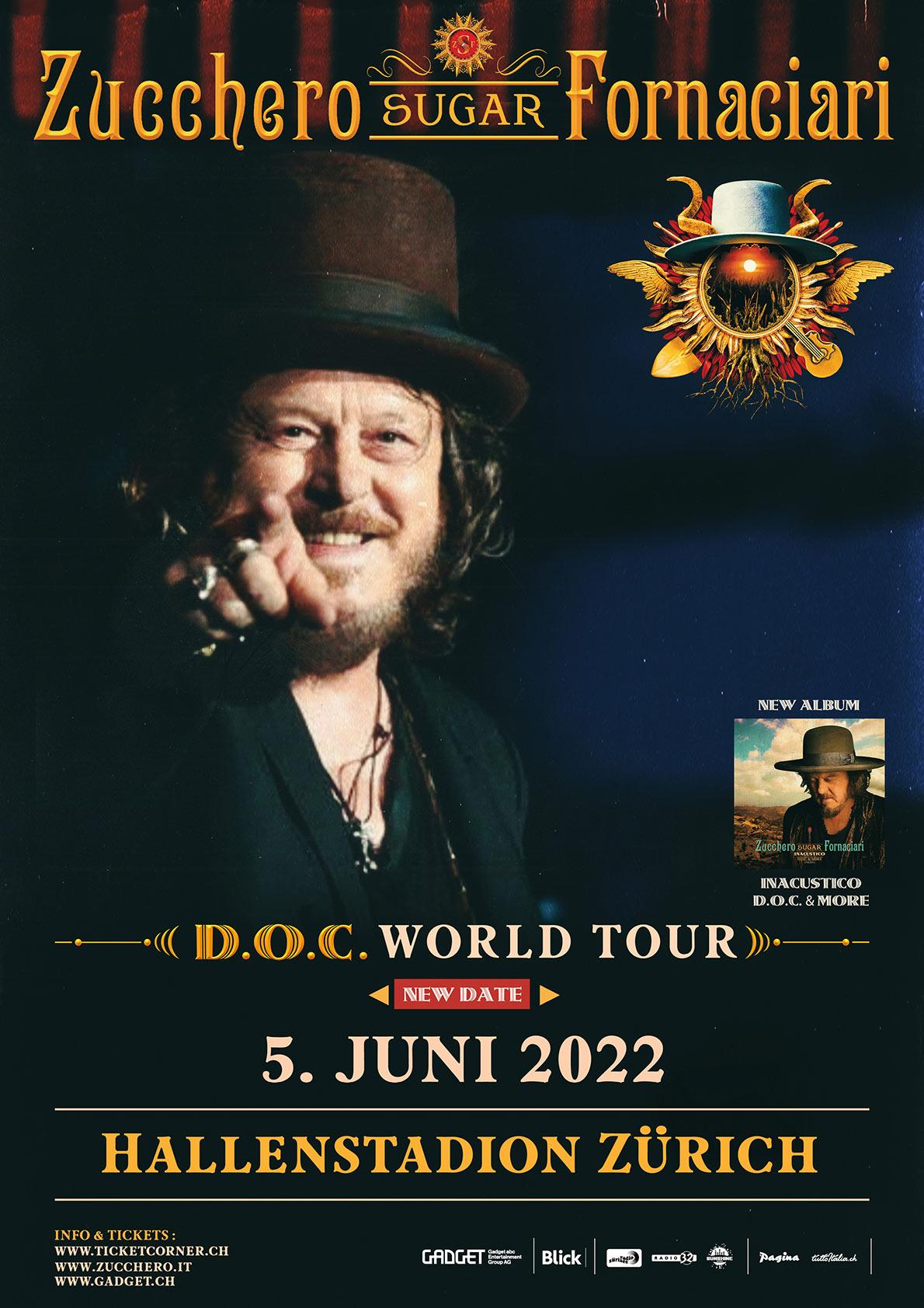 Zucchero in concerto a Zurigo Hallenstadion domenica 5 giugno 2022, ore 20