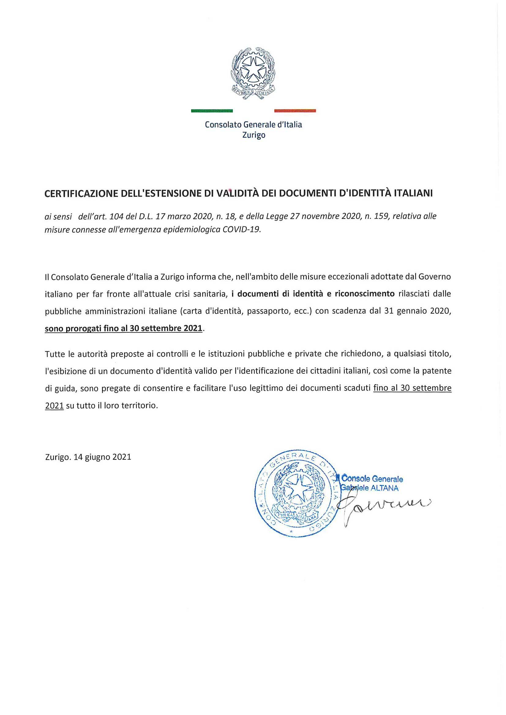 Certificazione dell'estensione di validità dei documenti d'identità italiani