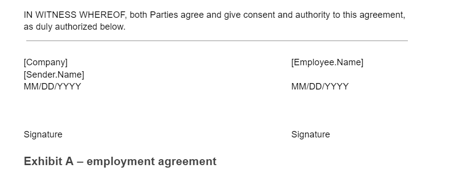 Non Compete Agreement Signature Section