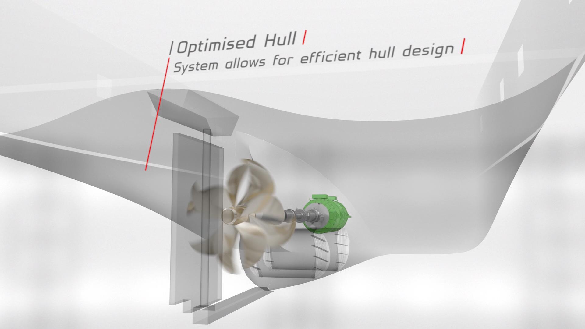 Brunvoll CRP Contra Rotating Propeller in hull design