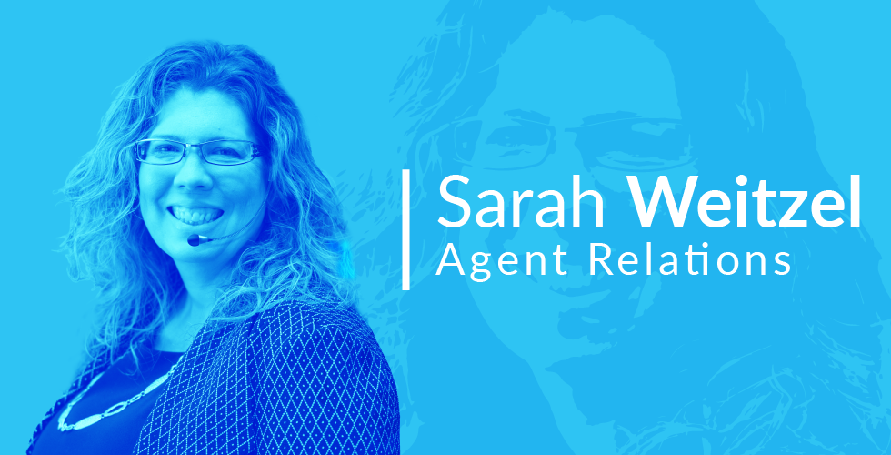 An image of Sarah Weitzel with a headset on - text in image says Sarah Weitzel - Agent Relations.