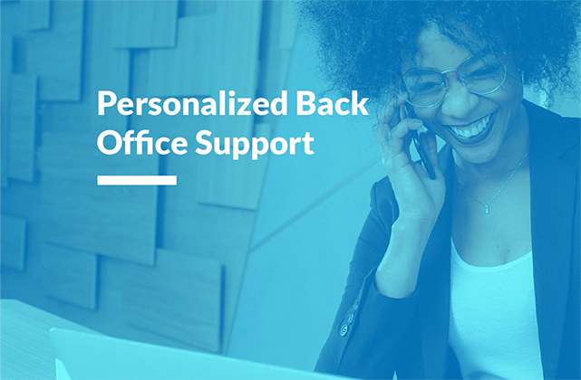 Image of a young woman smiling listening on her cell phone with the words 'Personalized Back Office Support' to the upper left.