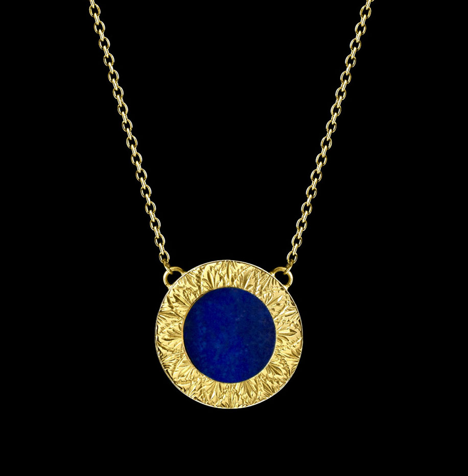 lapis lazuli small necklace engraved