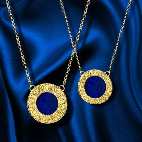 lapis lazuli engraved necklace