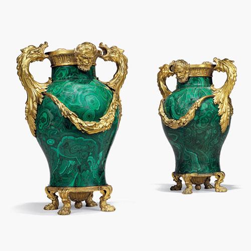 malachite vases with gold drakes