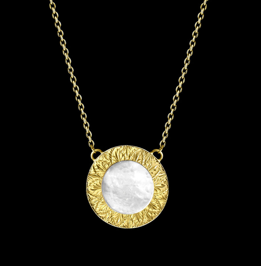 mother of pearl engraved necklace