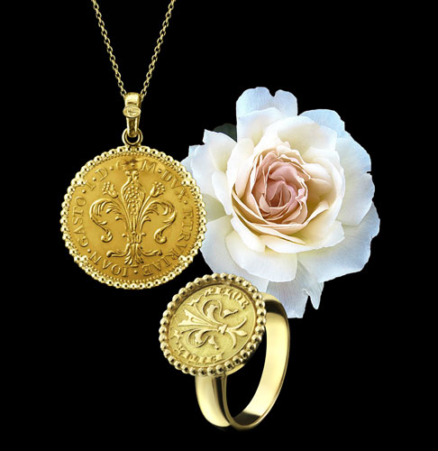 gold florin ring necklace