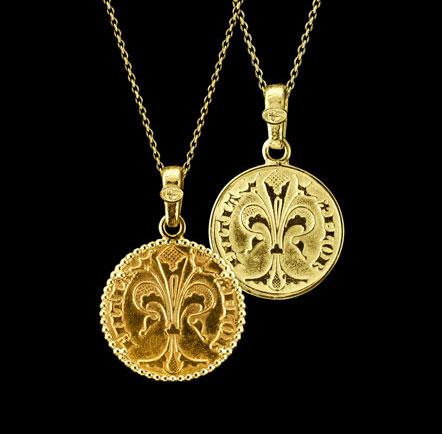 original florin coin necklace 24kt gold hand made florence jewel torrini perfect