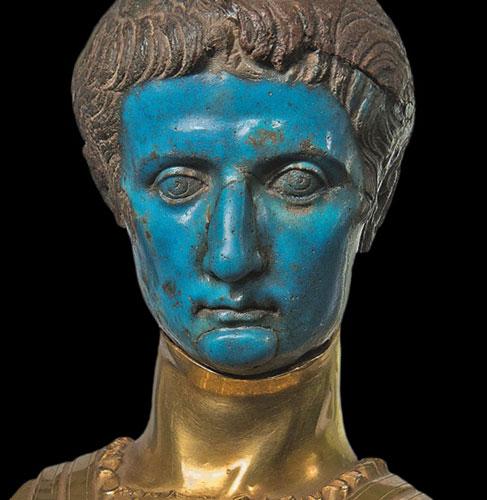 bust of Tiberius Roman emperor turquoise