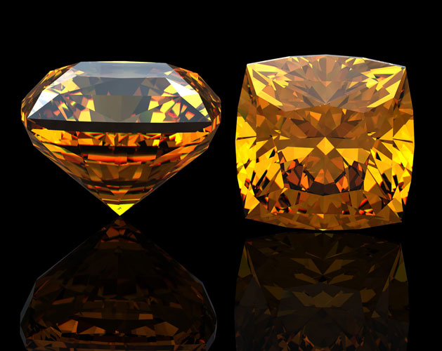 citrine gemstone yellow square cut