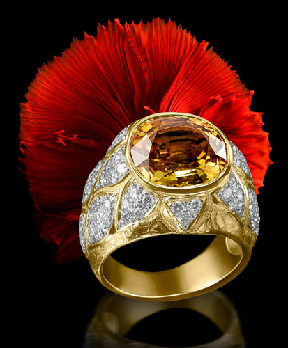citrine gold ring with diamonds jewel florence