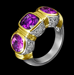 amethyst dimonds gold ring