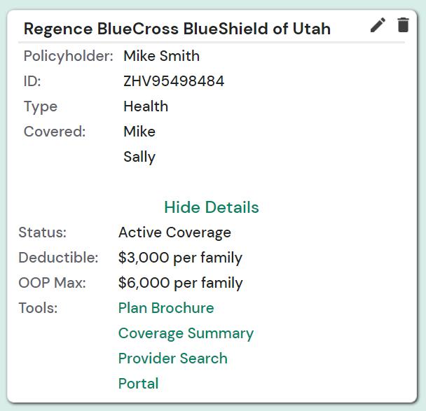 A screenshot of the LegUp Health digital insurance cards
