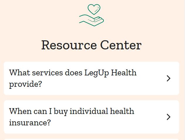 A screenshot of the LegUp Health resource center