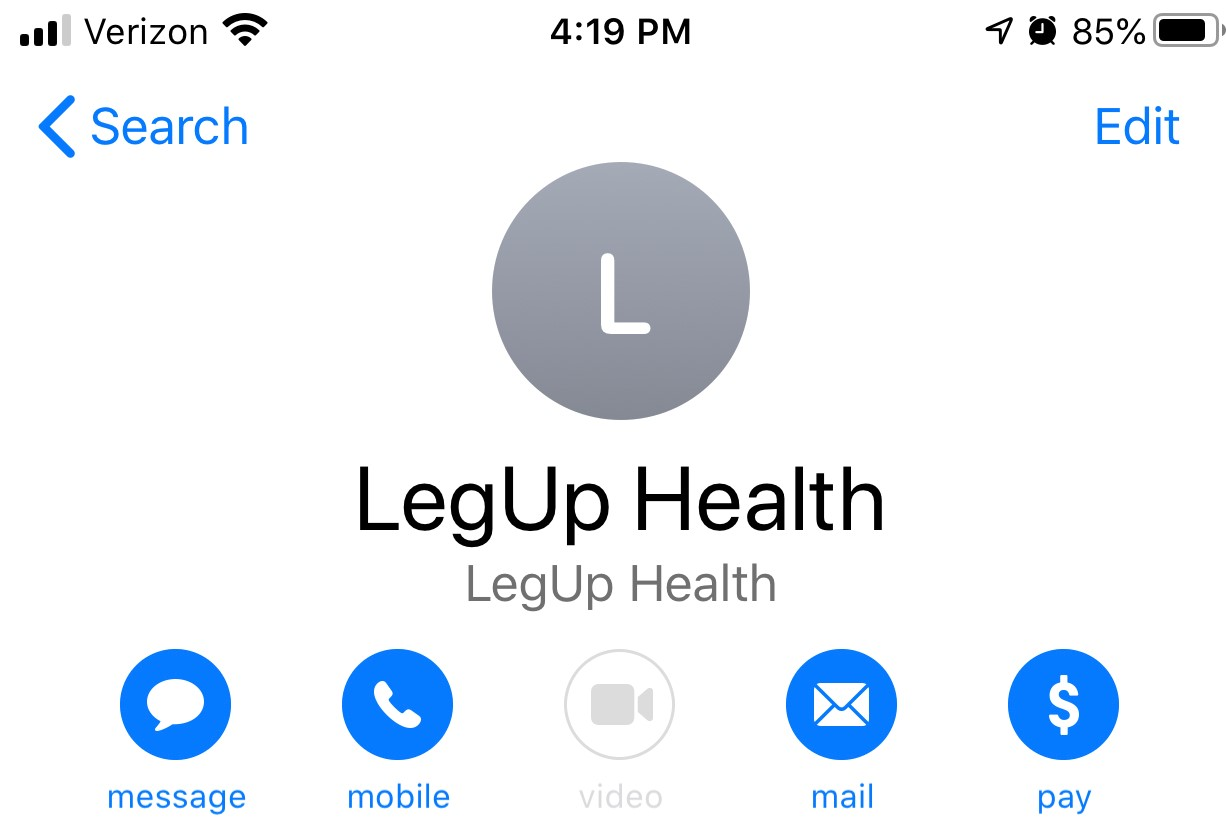 A screenshot of the LegUp Health Virtual Contact Card