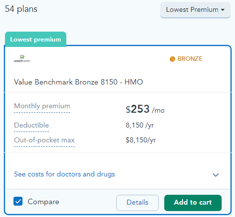 A screenshot of a sample health insurance plan quote