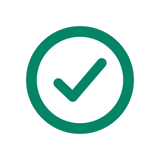 A green checkmark icon