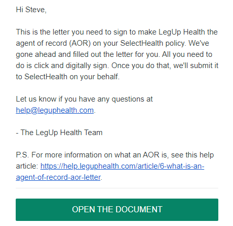 A screenshot of the agent of record letter