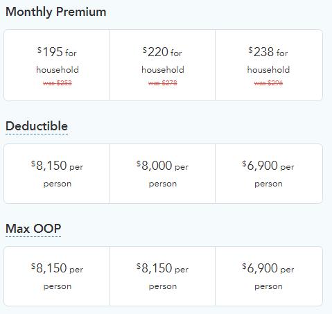 A screenshot of insurance plan comparisons