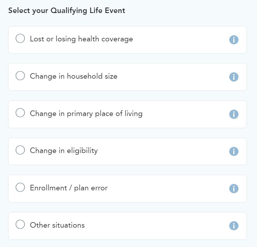 A screenshot of life event options