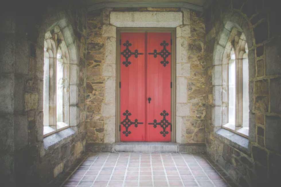 Virtual escape room door square