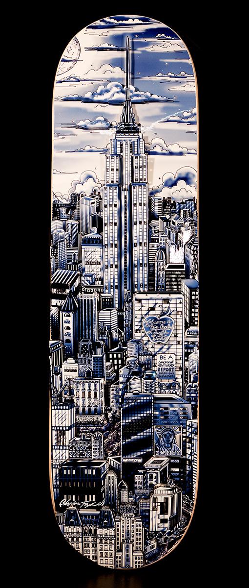 Charles Fazzino - Manhattan Blue Skateboard , 0552-011-089-090-094-095-099