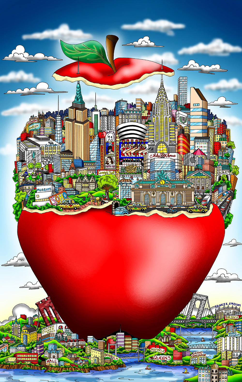Charles Fazzino - The Apple shines bright (Red)  , 5552-008-709-746-775