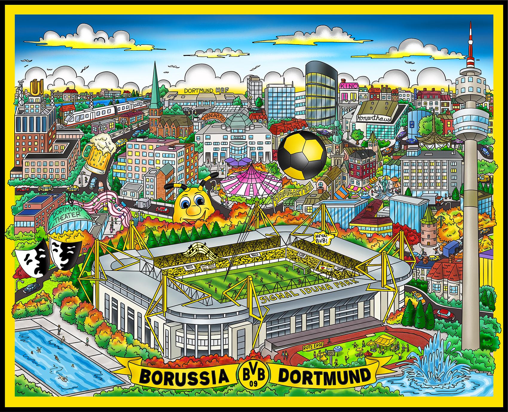 Charles Fazzino - Borussia Dortmund  , 5553-008-002-023-033-034