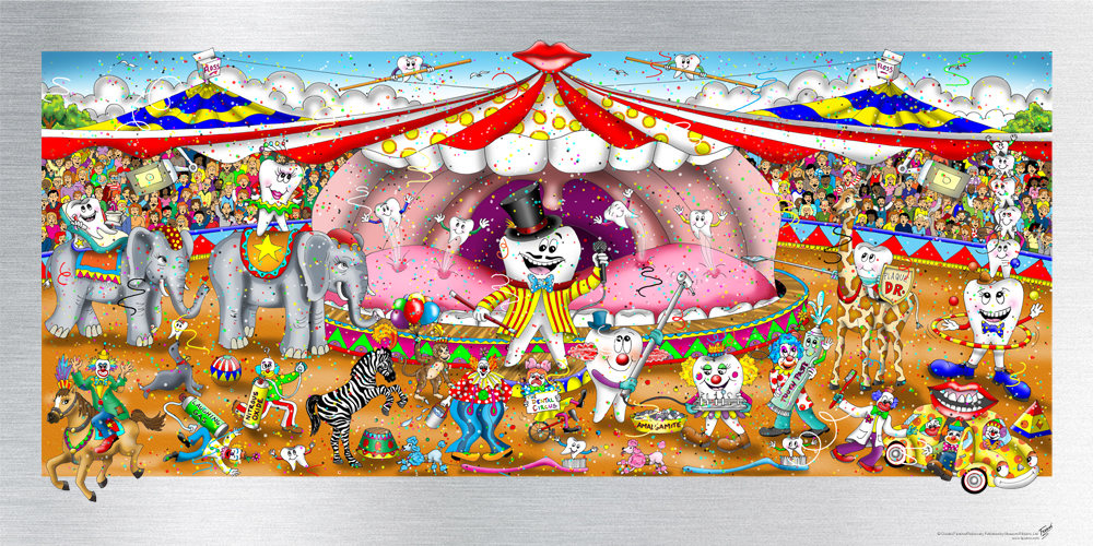 Charles Fazzino - Dental Circus  , 5552-008-707-789-791 , 5553-008-298-303