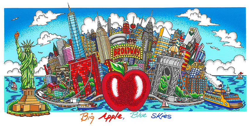 Charles Fazzino - Big Apple, Blue Skies , 5553-008-333-337-342-966