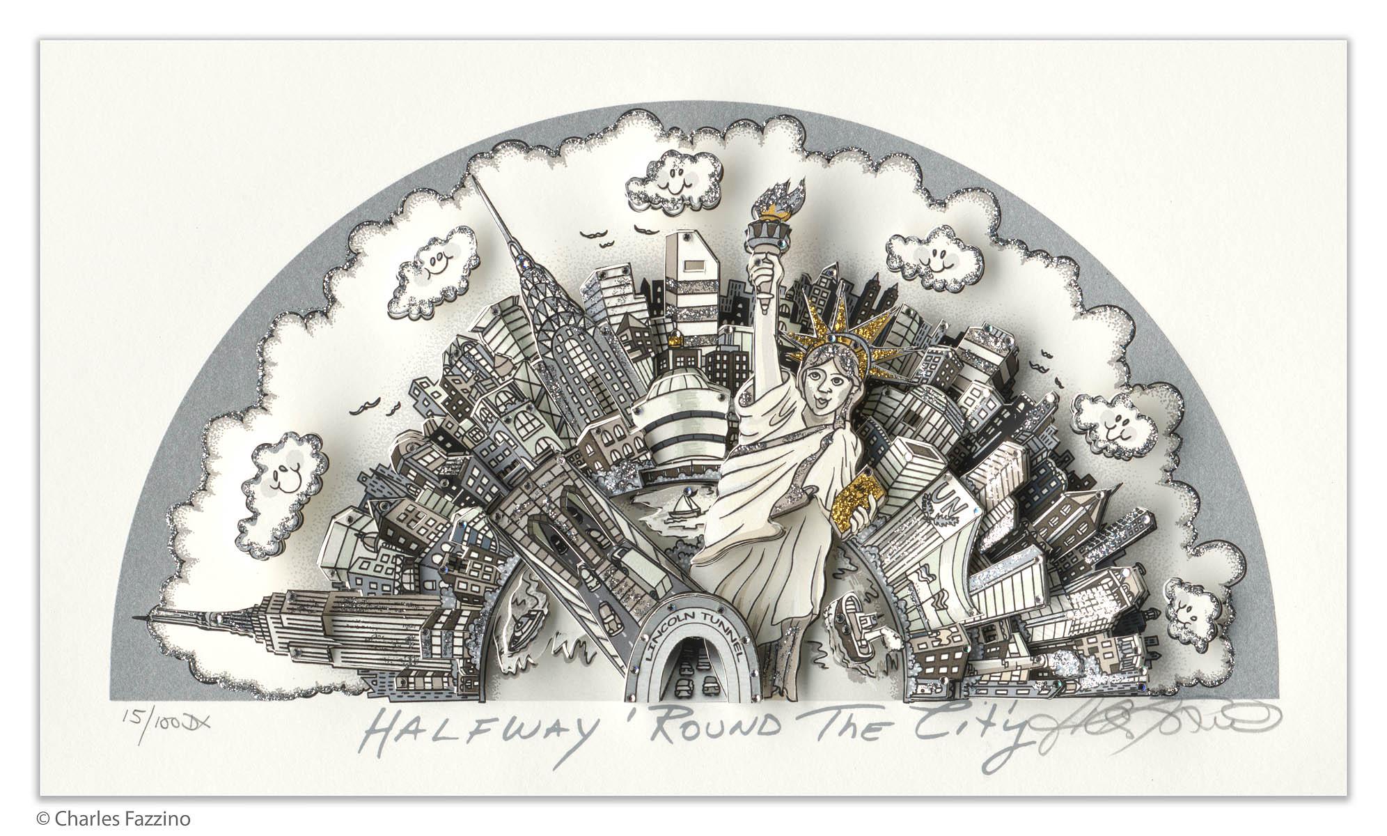 Charles Fazzino - Halfway Round the City , 5553-008-029-038-989