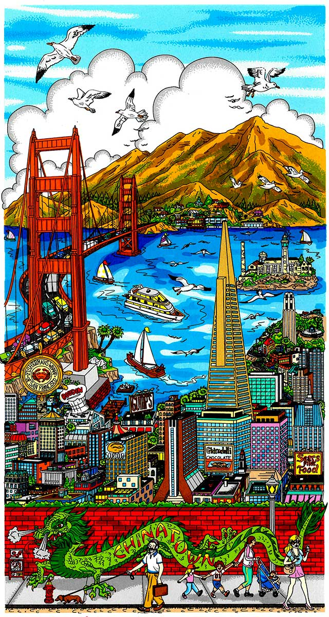 Charles Fazzino - High over San Francisco , 5553-008-324-987-996