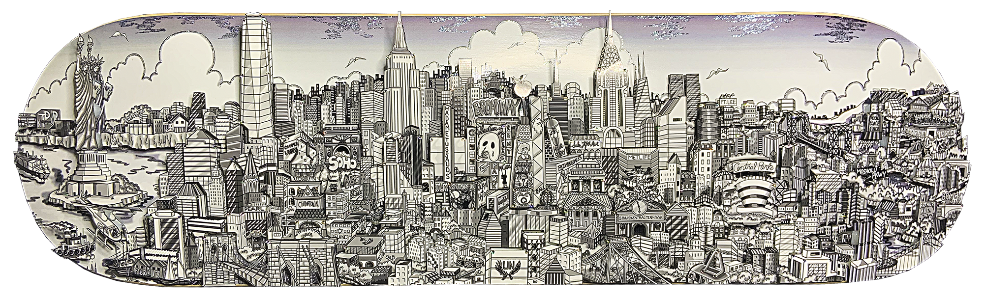 Charles Fazzino - Reflections of Manhattan Skateboard