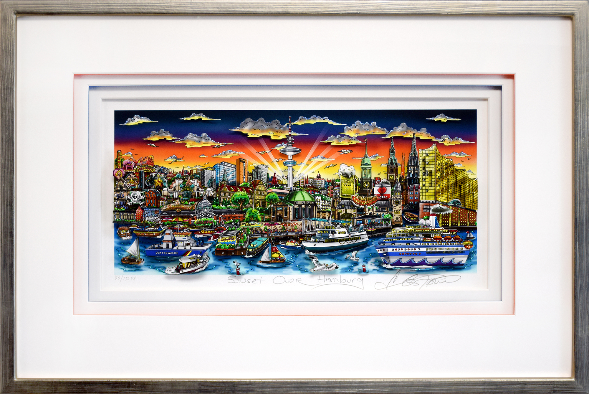 Charles Fazzino - Sunset over Hamburg , 5552-008-954 , 5553-008-007-008-015-032-043-052-059