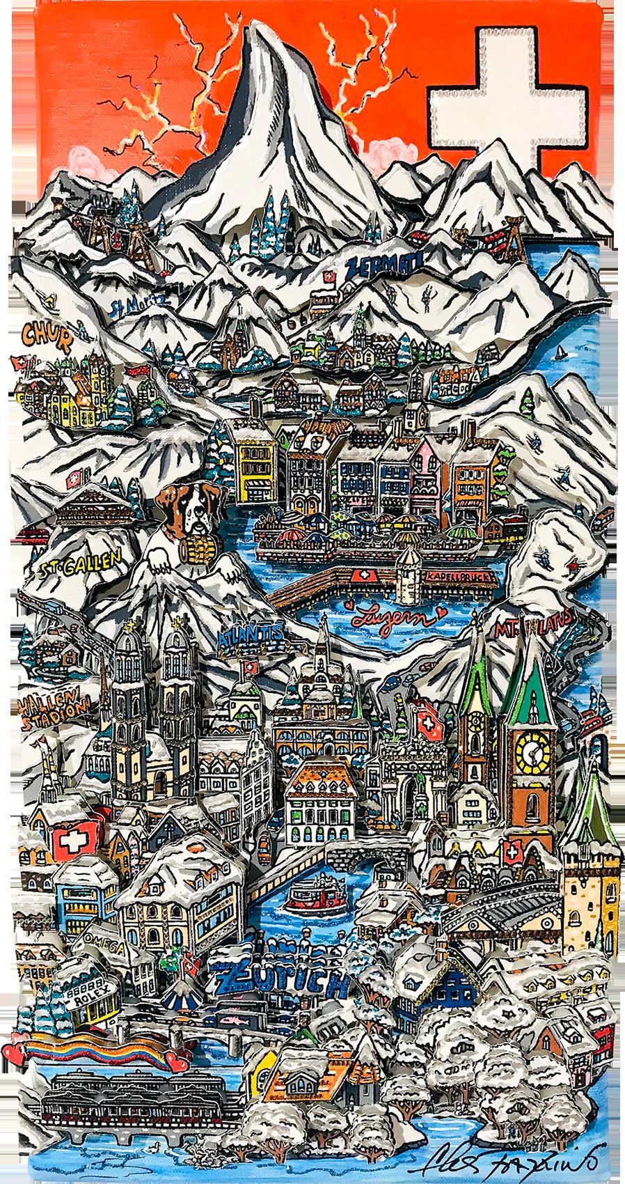 Charles Fazzino - Swiss Snowcaps , 0552-012-242