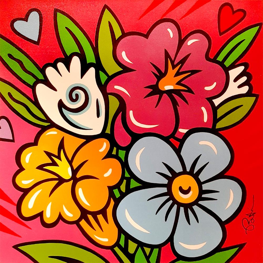 Burton Morris – Flowers Pink (Unikat) , 6557-012-010