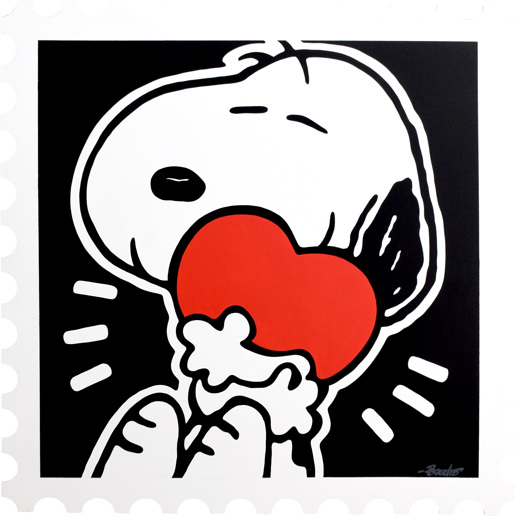 Guy Boudro - Snoopy with Heart (Stamp) , 9200-012-022