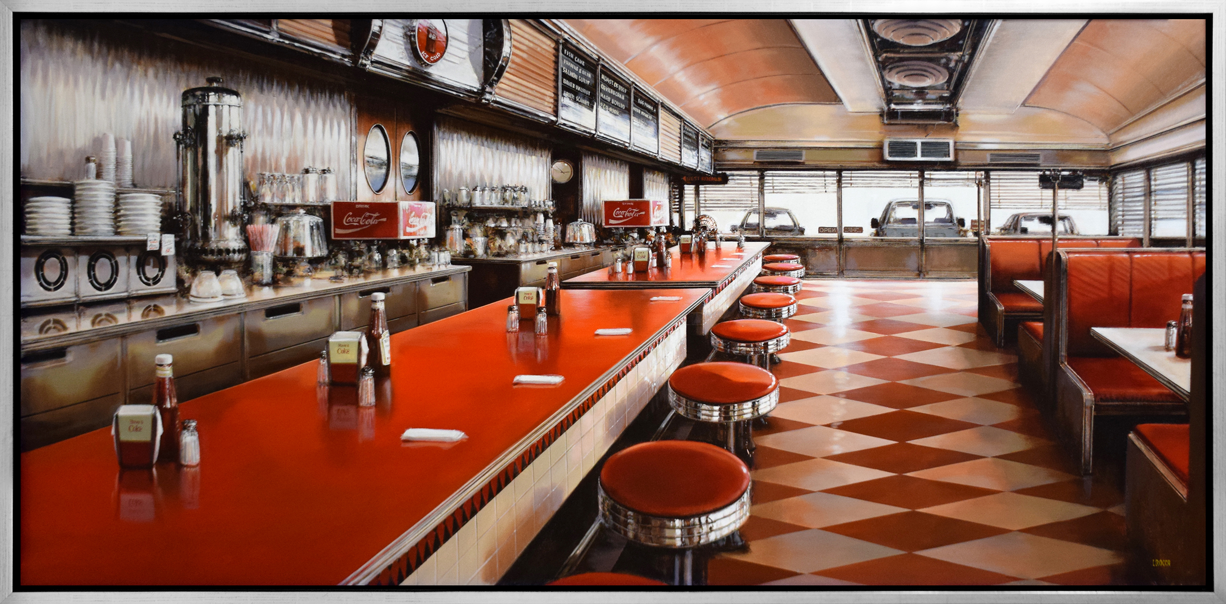 Luigi Rocca - Seven empty stools in a red diner
