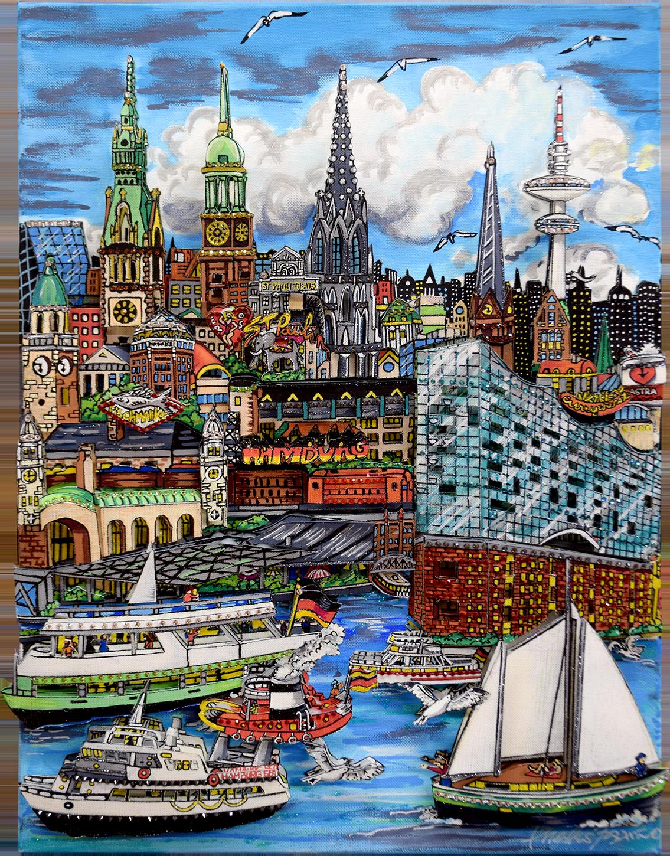 Charles Fazzino - Sounds of Hamburg Harbour , 5554-012-002