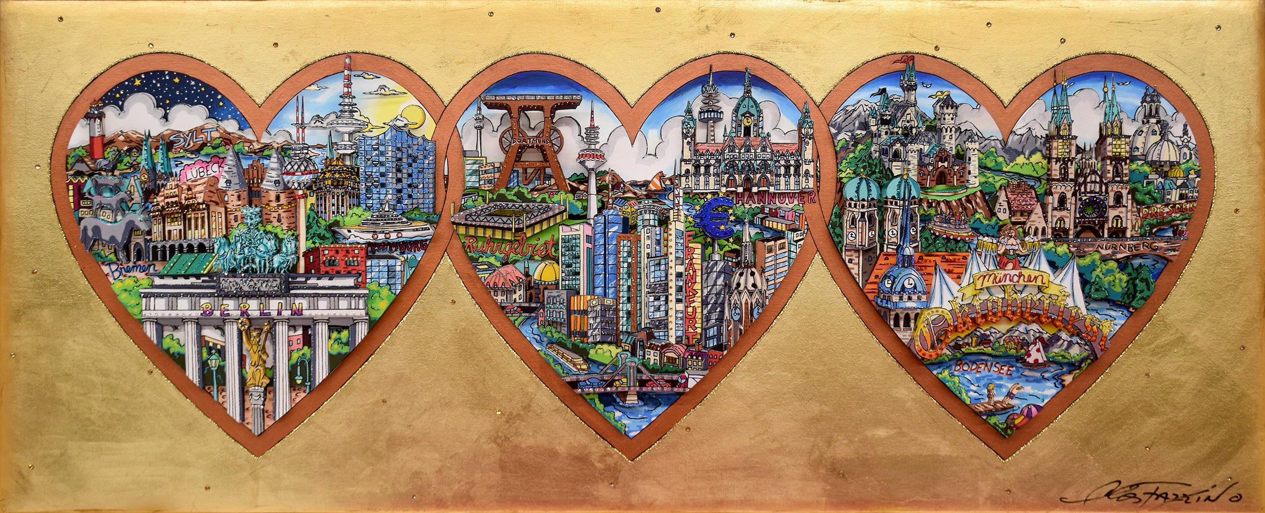Charles Fazzino - 3 Hearts of Germany , 5554-012-003