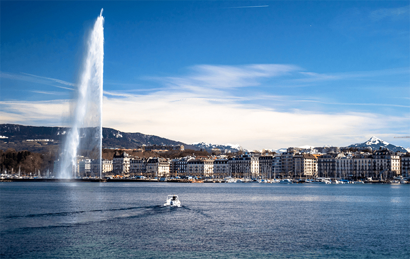 TX Markets location Geneva. Lake Geneva with the Jet d'Eau