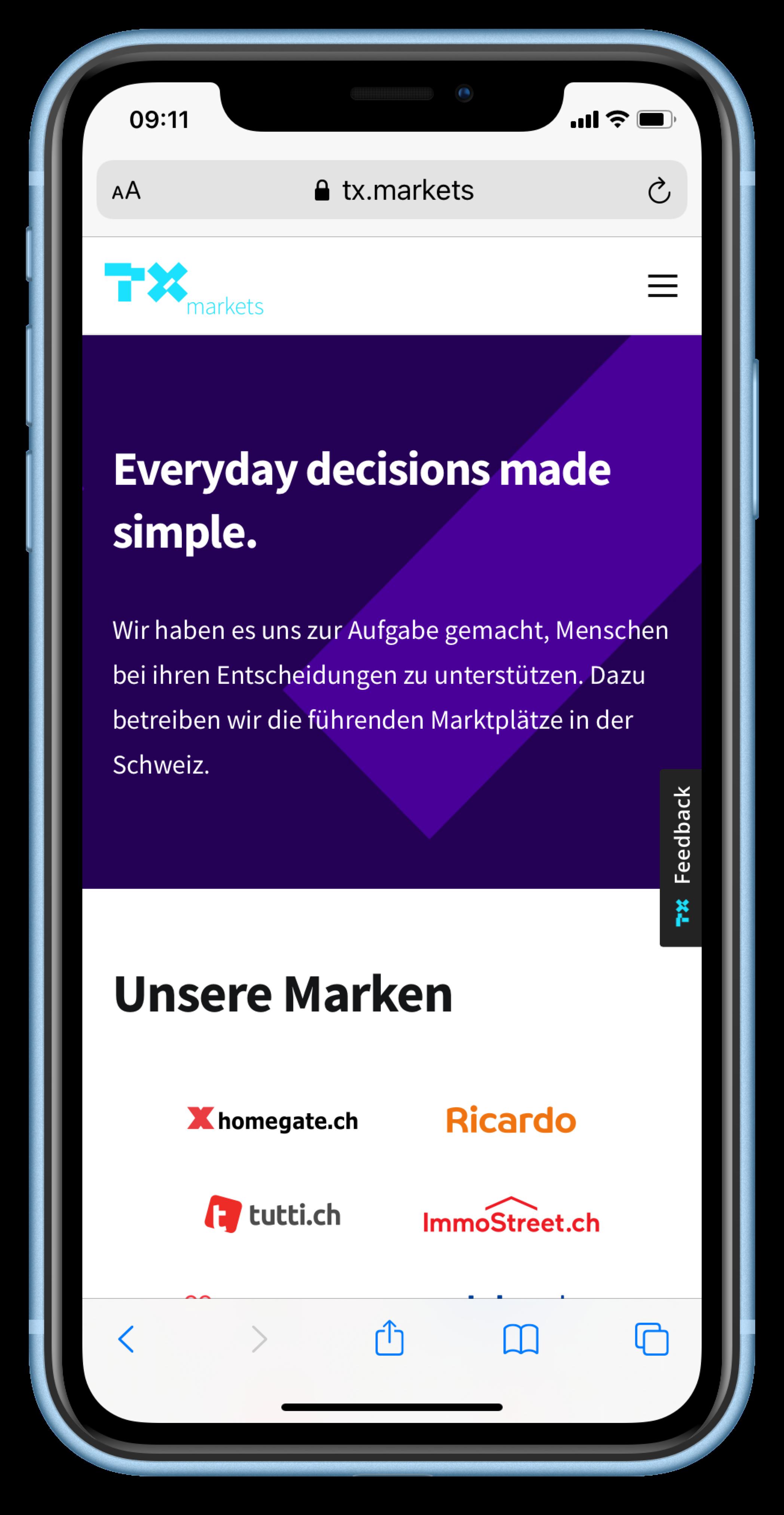 Mobile Screenshot of the TX Markets Website