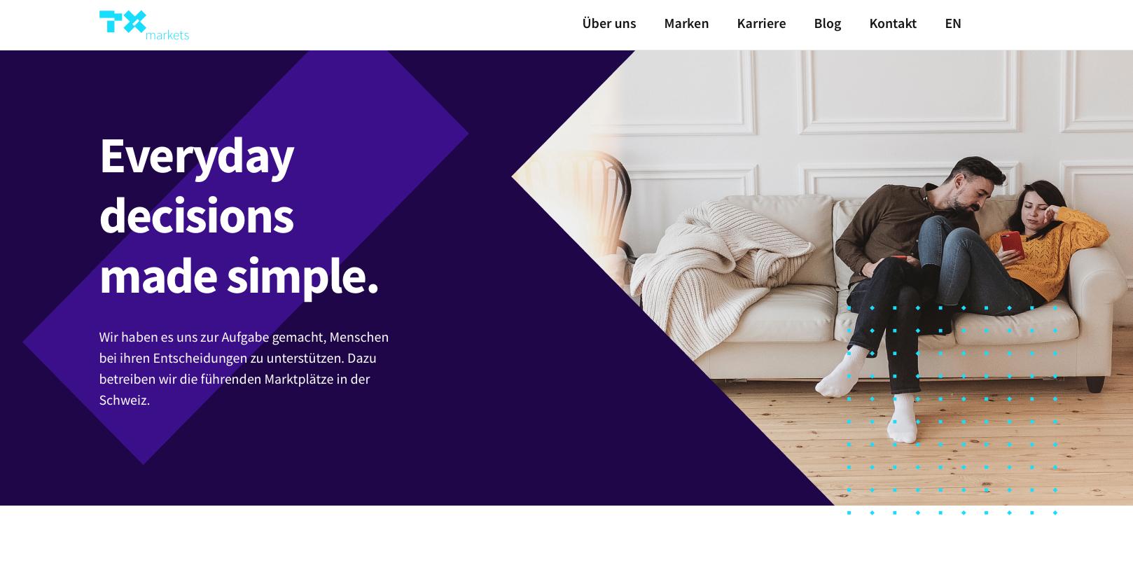 Screenshot of the TX Markets Website