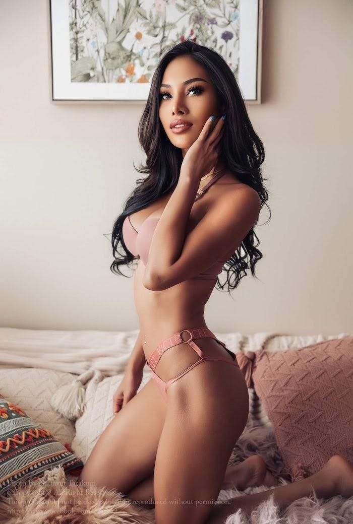 sexy Thai model Kwang Juraiwan in lingerie in a hotel room