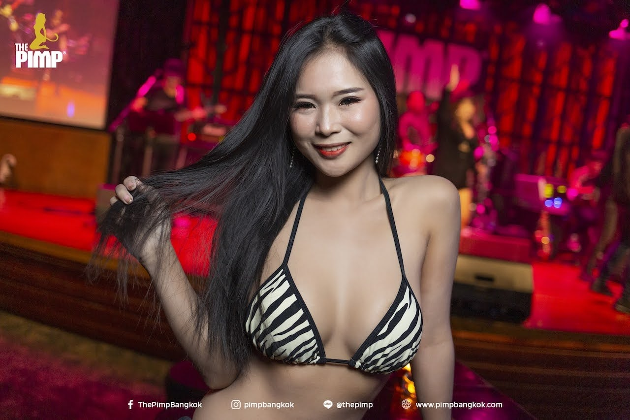 hot Thai girl wearing a beautiful zebra bikini at The PIMP gentlemen club in Bangkok