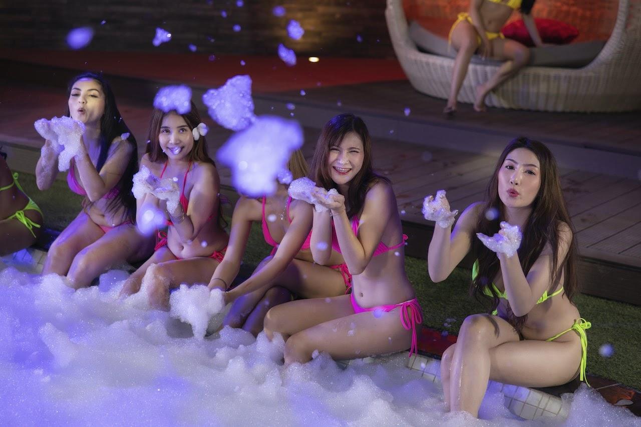 Thai bikini models at a foam party in The PIMP Bangkok private pool
